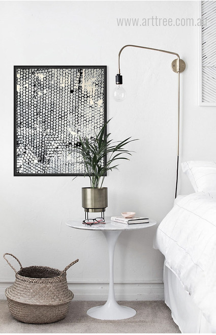 Modern Abstract Diamond Style Black and White Wall Art