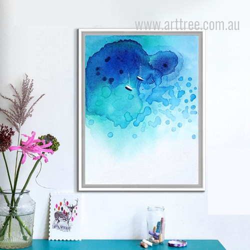 Abstract Blue Ocean Watercolor Art