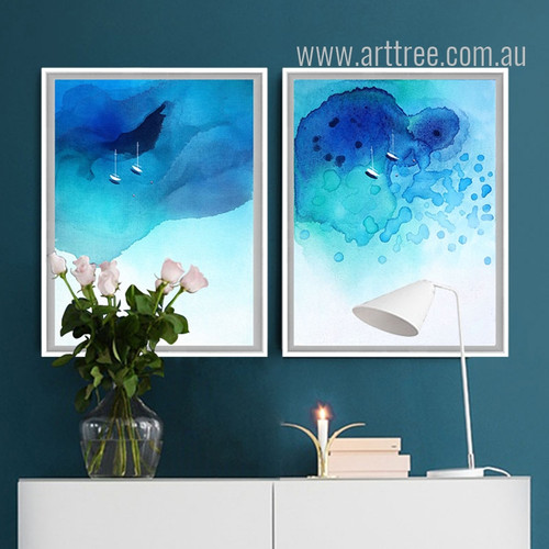 Abstract Blue Ocean Watercolor Prints (2)