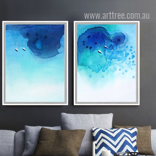 Watercolor Pattern Abstract Blue Ocean Wall Art Set
