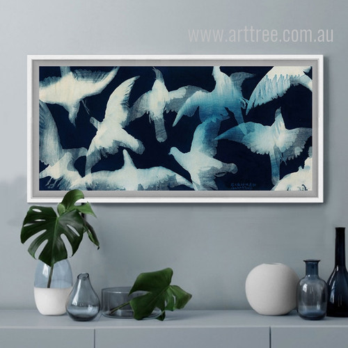 Blue and White Abstract Watercolor Pigeon Bird Art