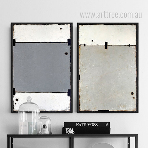 Geometric Black Grey Color Partition Wall Art Set