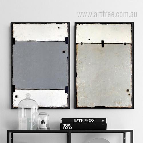 Geometric Black Grey Color Partition Wall Art Set