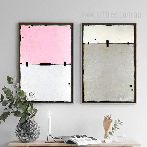Geometric Pink Grey Color Partition Wall Art Set