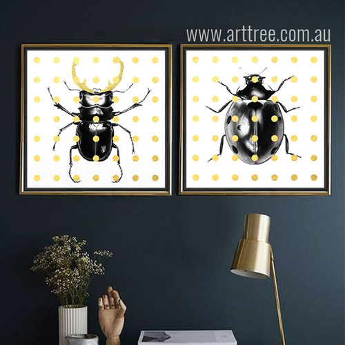 Beetles Pop Art Canvas Print Set
