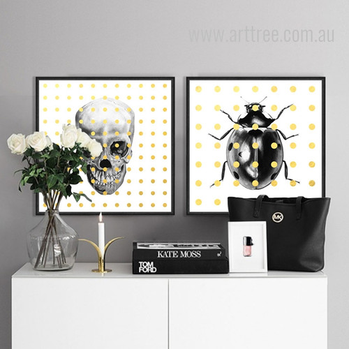 Skeleton Beetle Insect Pop Art Canvas Print Set