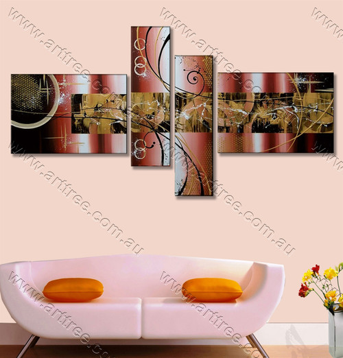 multi panel canvas painting Brown Textured