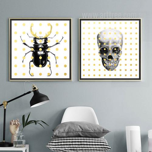 Beetle Skeleton Pop Art Canvas Prints