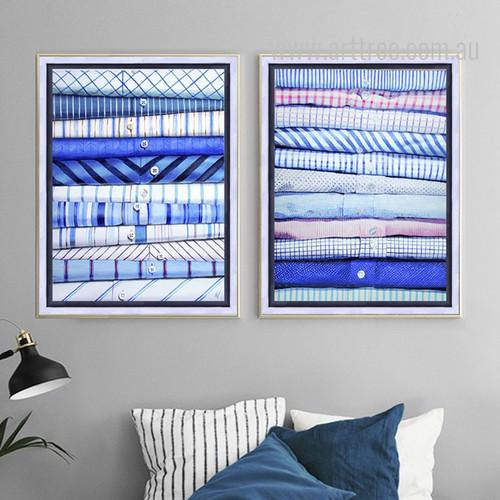 Men Blue White Folded Shirts Clothing Style Canvas Prints