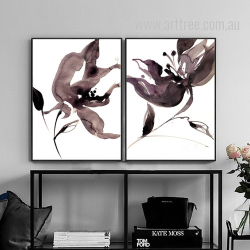 Abstract Watercolor Floral Painting Print Set