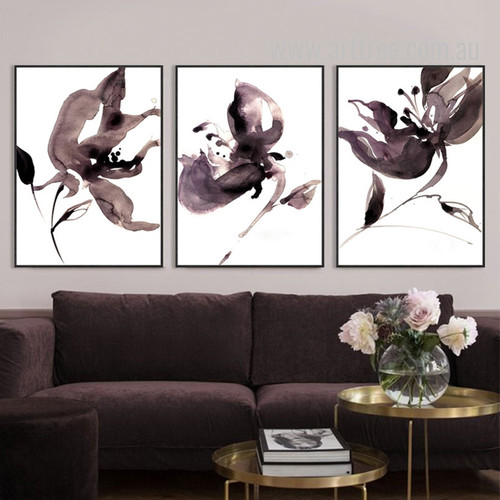 Abstract Watercolor Floral Painting 3 Piece Canvas Wall Art
