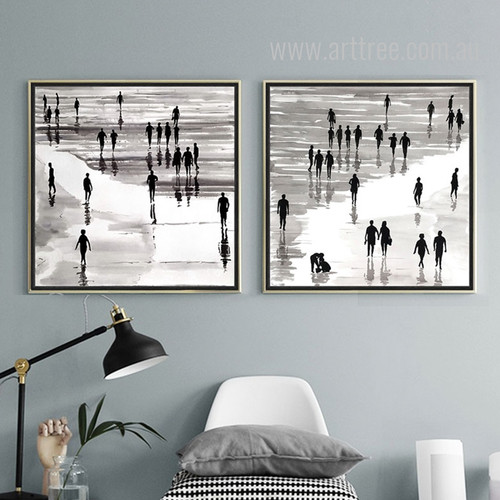 People on Beach Scenery Black and White Canvas Prints