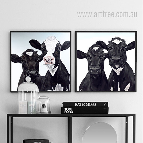 Black and White Cow Animal Prints