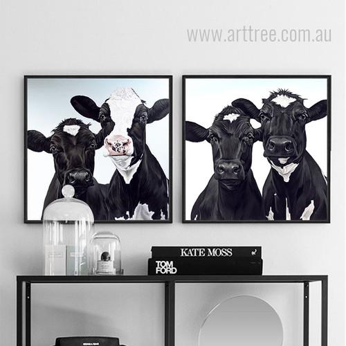 Black and White Cow Animal Prints