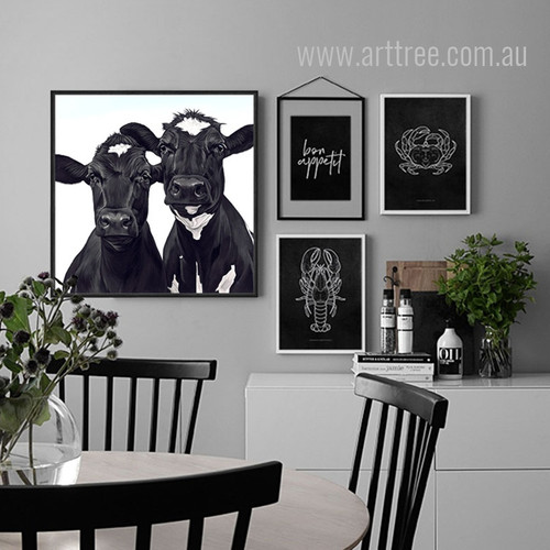 Cow Animal Design Black and White Cattle Artwork