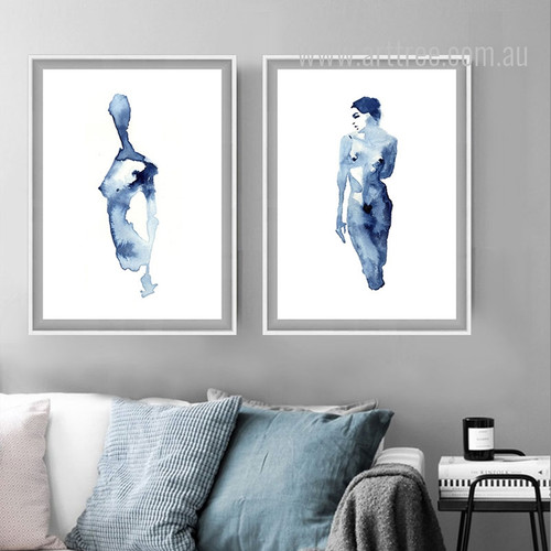 Abstract Watercolor Blue Nude Woman Model Canvas Print