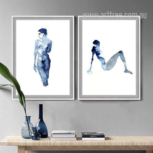 Blue Minimal Woman Model Watercolor Art