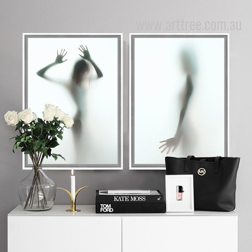 Nude Girl Shadow Design Wall Art Set