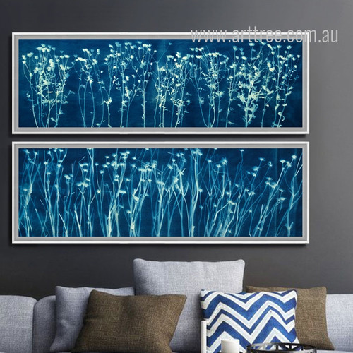 Blue and White Flowers Long Wall Art