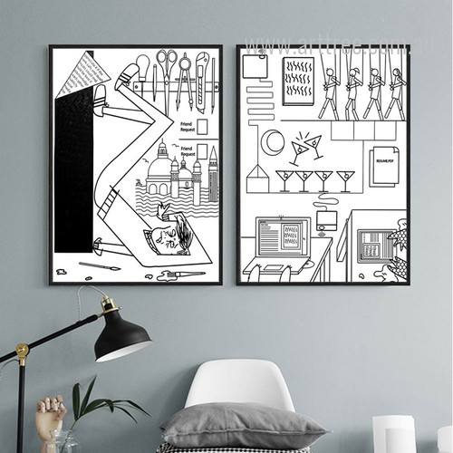 Bar, Tools, Cartoon Design Black and White Prints