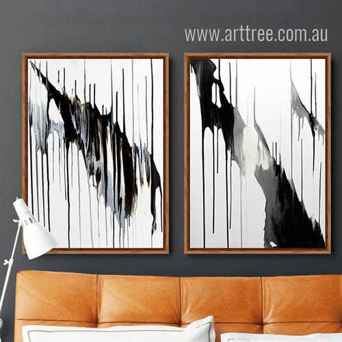 Modern Abstract Melt Down Black and White Prints