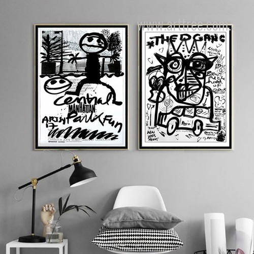 Manhattan Cartoon Letter Fauvism Design Black and White Prints