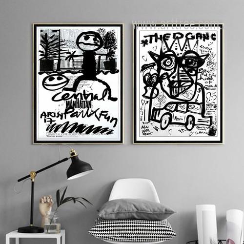 Manhattan Cartoon Letter Fauvism Design Black and White Prints