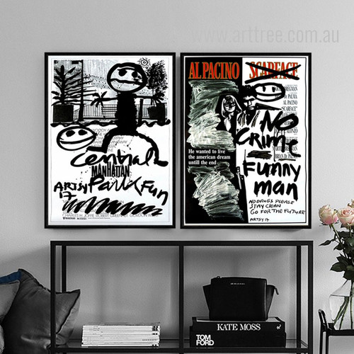 Alpacino Manhattan Cartoon Letters Fauvism Design Black and White Prints