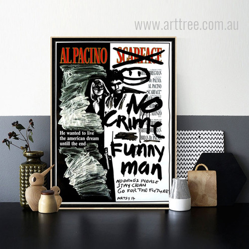 Alpacino No Crimes Letters Design Black and White Prints