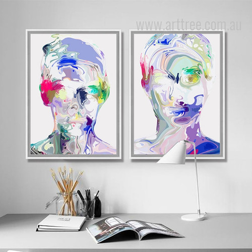 Abstract Watercolor Human Face Portrait Painting Prints