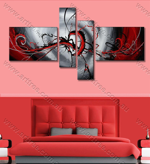 multi panel painting Black & Red Streaks