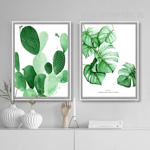 Monstera Deliciosa, Cactus Succulents Watercolor Prints
