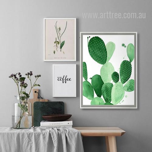 Green Cactus Succulents Design Watercolor Art