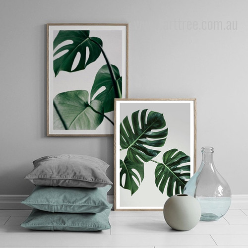 Green Monstera Leaf Art Set