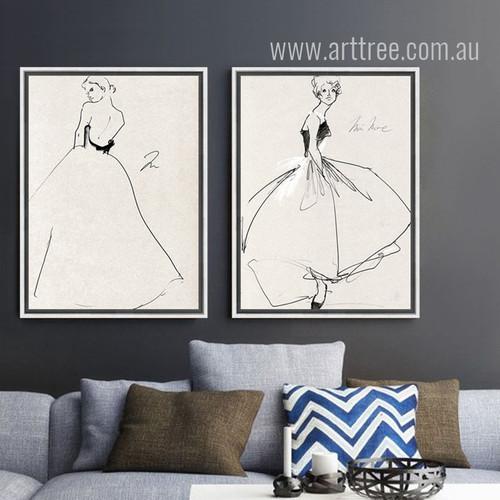 Fashionable Princess Style Dress Woman Black and White Prints