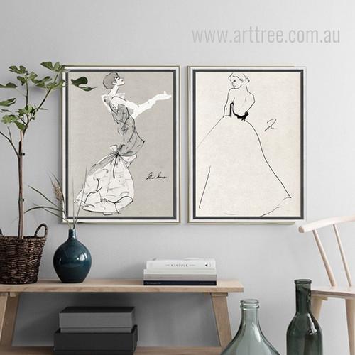 Princess Style Dress Woman Black and White Prints
