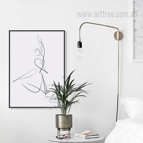 Minimal Dancer Design Black and White Canvas Print