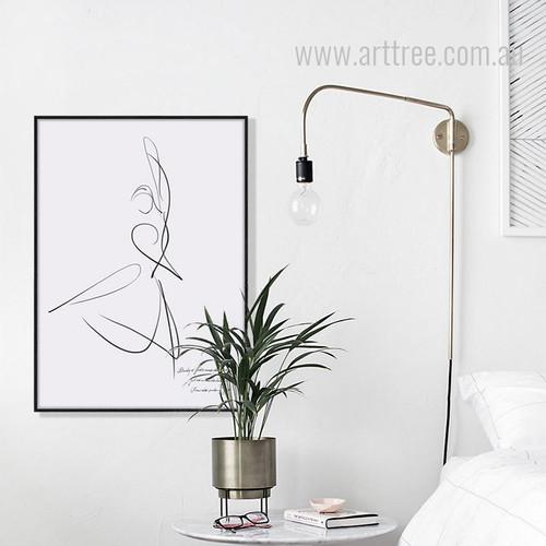 Minimal Dancer Design Black and White Canvas Print