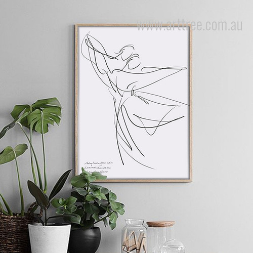 Minimal Couple Dancing Design Black and White Art
