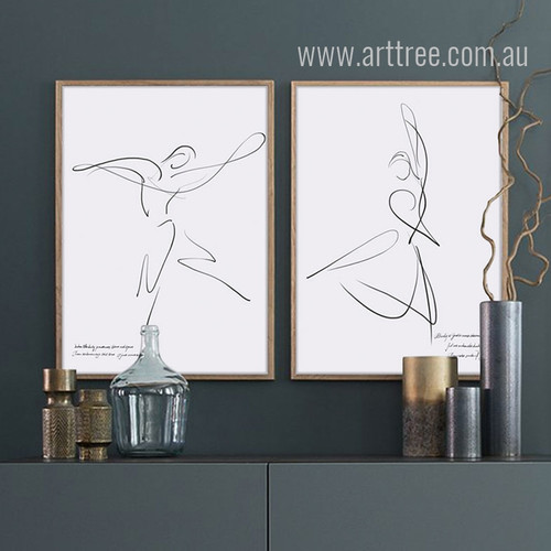 Dancing Couple Design Black and White Canvas Prints