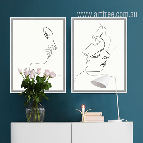 Minimal Line Drawing Woman Face Design Black and White Prints
