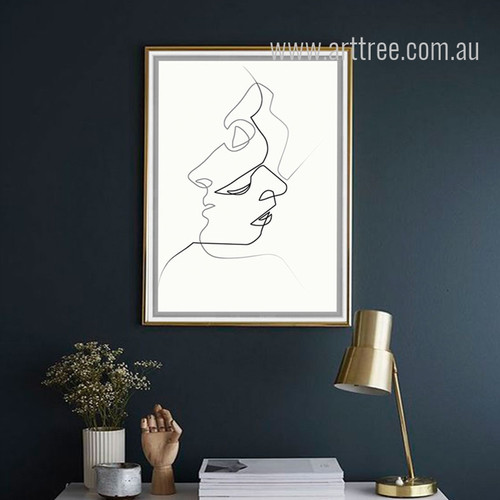 Minimal Line Drawing Woman Portrait Black and White Print
