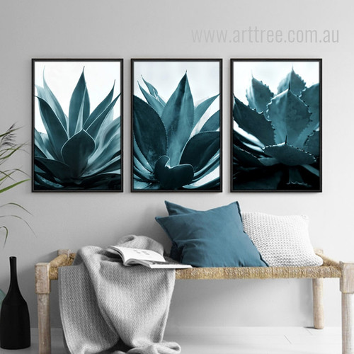 Tropical Blue Green Plants Painting Prints