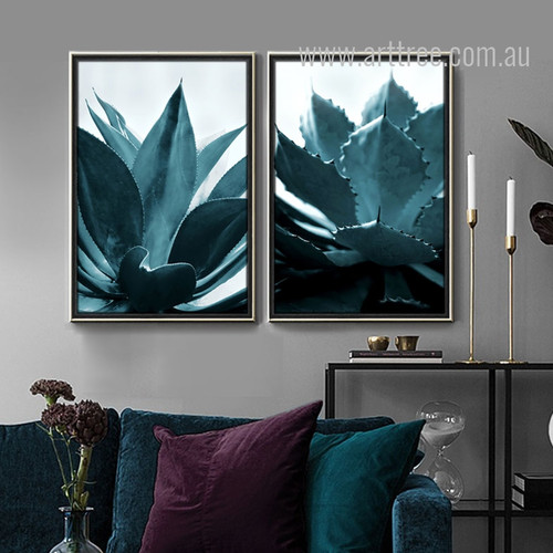 Tropical Plant Life Blue Green Botanical Prints
