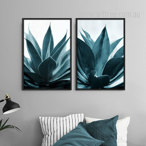 Tropical Blue Green Plants Botanical Prints