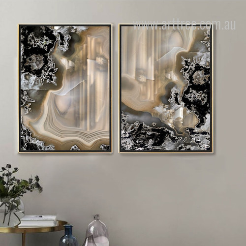 Modern Abstract Gems Apricot Color Painting Prints