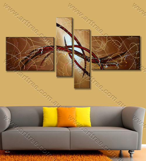 multi panel wall painting Red Streaks
