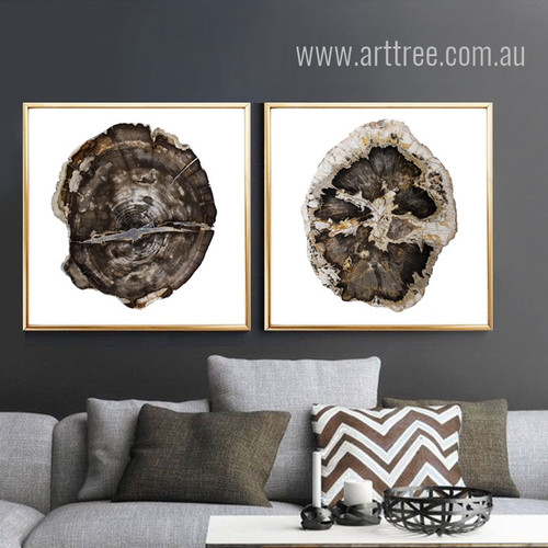 Brown Withered Tree Rings 2 Piece Wall Art Set