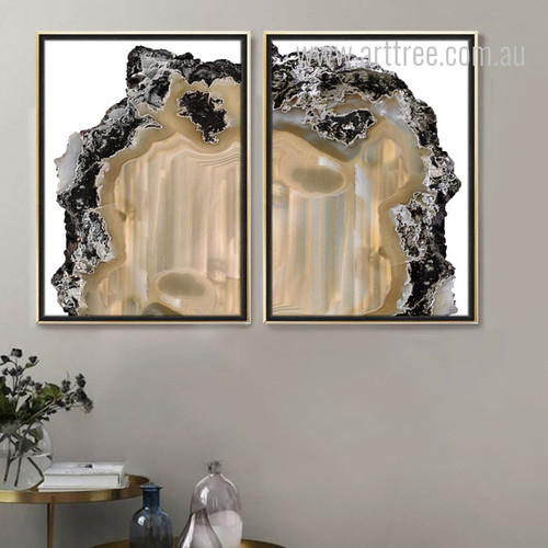 Modern Abstract Brown Gems Art Prints