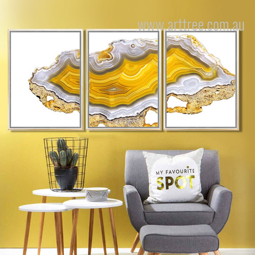 Yellow Modern Abstract Painting Onyx Gems Poster Prints